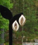 Vintage Trifari TM Cream Enamel Leaf Earrings, Clip - $20.00