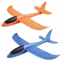 "Huture 2 Packs 15"" Glider Airplane Throwing Foam Airplane Toys Dual Flight Mode"