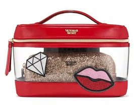 Victoria's secret Patch Train Case Duo 2 piece Square Makeup bag set Red Clear - $22.87