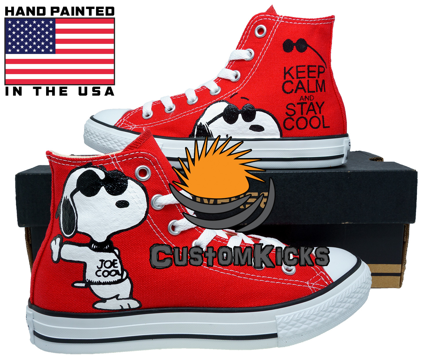 Painted converse sneakers, Snoopy, Keep Calm, Peanuts, Hand painted shoes for sale  USA
