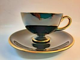 Egersund Norsk Flint Demitasse Black Porcelain Teacup and Saucer Mirror ... - $59.39