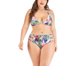 Women's Plus Size Halter Push Up Leaf Printed Two Pieces Bikini Set - $22.99