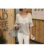 3 Colors New Women Casual Basic Handmade Crochet Bat wing Lace shirt Cap... - $34.80