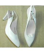Bellini Womens Heels Sling Back White Leather High Career Work Shoe Size 11 - $23.05