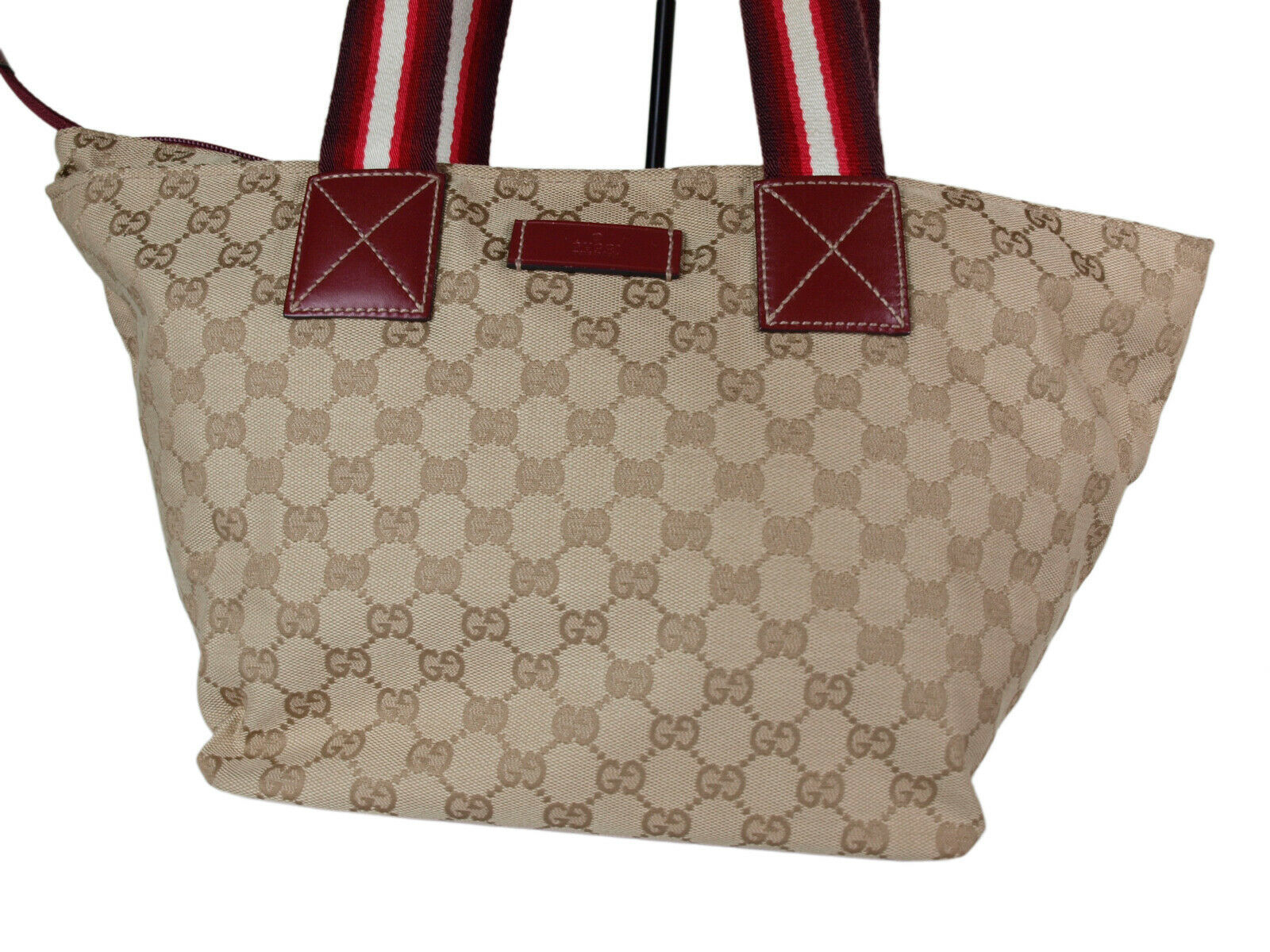 Auth GUCCI GG Pattern Canvas Leather Browns Shoulder Bag GS2060