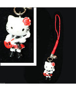 Mini Figure-HELLO KITTY CELL PHONE STRAP-Rocker Guitar-Stocking Stuffer ... - $3.89