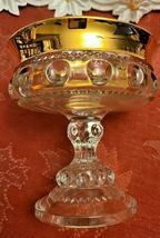 Indiana Glass Kings Crown Compote Candy Dish Gold Rimmed Flashing Thumbprint image 6