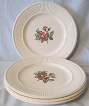 """Wedgwood Brown Back Stamp Moss Rose White Lunch Plate 9"""" set of 4 - $32.56"""