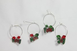 Wine Glass Charms (new) (qty 4) CHRISTMAS WORDS - JOY, PEACE, MERRY, NOEL - $6.22