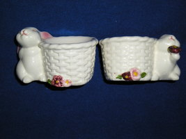 TWO BUNNY CERAMIC CANDLE HOLDERS Easter Spring AVON Made in Brazil XX - $8.99