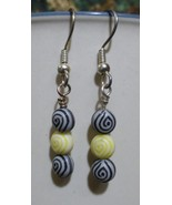 Black/Yellow Egyptian Eye Dangle Earrings - $15.00
