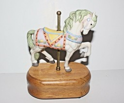 Vintage Porcelain Carousel Music Box Plays Carousel Waltz Baby Shower Gift - $17.81
