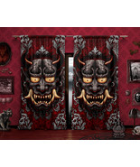 Gothic Oni Curtains, Goth Japanese Demon Window Drapes, Sheer and Blackout, Sing - $164.00 - $182.00