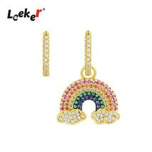 Unique Asymmetry Hoop Earrings Gold Silver Color Rainbow Crystal Earring... - $14.15