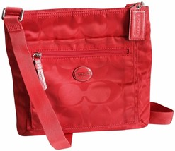 Coach Getaway Signature Nylon File Bag 77408 Hot Orange - $60.78