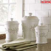 Kitchen Canister Set Ceramic White Jar Storage ... - $60.99