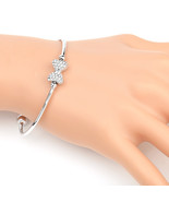 UE-Trendy Silver Tone Designer Bangle Bracelet With Swarovski Style Crys... - $18.99