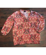 Lucky Brand Blouse Womens Size L Peasant Stretch Knit Paisley Multi Colo... - $18.70