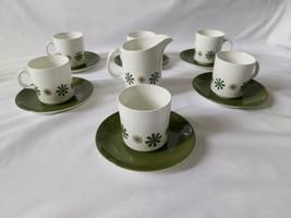 Vintage Johnson Brothers Green Geometric Tea Set For 6 Cups Saucers Crea... - $16.60
