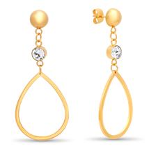 STEELTIME 18K Gold Plated Stainless Steel teardrop drop earrings adorned  - $22.99