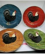 "4 Warren Kimble Rooster Sakura 8"" salad Plates chickens1999 Country Kit... - $29.69"
