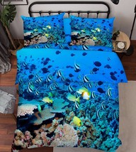 3D Fishes Corals Bed Pillowcases Quilt Duvet Cover Set Single Queen King Size AU - $90.04+