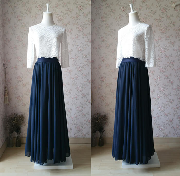 Rustic Bridesmaid Dresses Maxi Chiffon Skirt White Crop Lace Top Navy Custom
