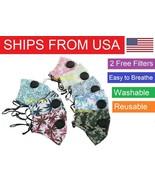 USA SHIPPING Paisley Camo Palm Adult Face Mask Soft Cotton Filter Vent Reusable - $14.84 - $20.78