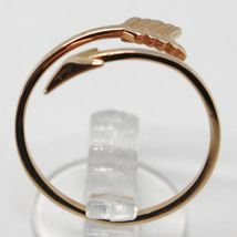 18K ROSE GOLD ARROW RING SMOOTH BRIGHT LUMINOUS DOUBLE WIRE MADE IN ITALY image 4