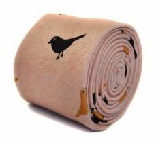 Frederick Thomas pink tie with bird design 100% cotton linen FT2179 - $16.13
