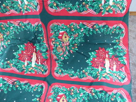 Fabric Panel Cut And Sew Christmas Placemats Xmas Candles Ribbons Holly Flowers - $12.00