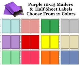10x13 ( Purple ) Poly Mailers + Colored Half Sheet Self Adhesive Shippin... - $2.99+