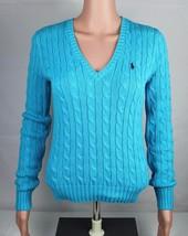 Ralph Lauren Sport Damen Pullover Langärmlig Blau Strick Baumwolle GRÖSSE S - $19.87
