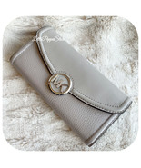 MICHAEL KORS FULTON FLAP LARGE CONTINENTAL WALLET LEATHER PEARL GREY - $52.35