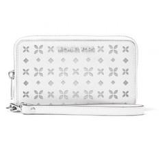 Michael Kors Jet Set Perforate Wallet WRISTLET Phone Case White NWT - $78.99