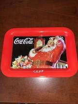 """Vintage 1998 Coca-Cola with Santa Claus Mini Serving Tray 4 1/2"""" x 6 1/2"""" - $21.20"""