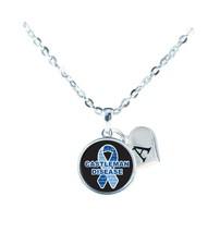 Custom Castleman Disease Awareness Ribbon Silver Necklace Jewelry Initial Family - $13.94