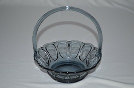 Fenton 5 Line Paneled Smoke Blue Basket - $14.85