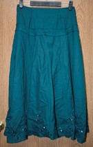 Womens Long Green Embroidered Beaded Twenty-One  Skirt Size Small very good - $3.46