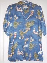 Hawaiian Shirt Sz M Campia Moda Destination Wedding bathing beauties Blue Rayon - $27.71