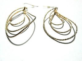 Layered Chain Earrings Gold Wire Hook Dangle Fashion R03 - $4.95