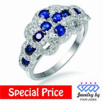 1.5CT 14K White Gold Blue Sapphire Colored Stone Natural Diamond Fancy ... - $656.91