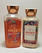 Bath And Body Works Sweet Tropical Vanilla Shower Gel Body Lotion Gently... - $26.45