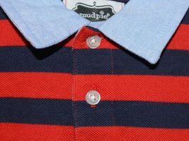 MudPie Puppy Polo One Piece Red Blue Cambray Collar 12 to 18 Months image 4