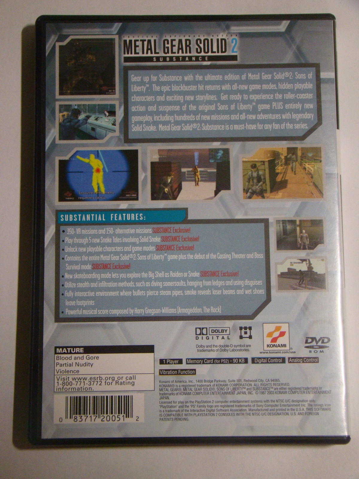 Playstation 2 - METAL GEAR SOLID 2 - SUBSTANCE (Complete with Manual)
