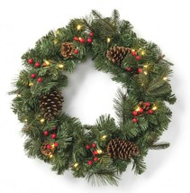 "24"" Pre-lit Battery Operated LED Red Berry Pinecones Artificial Christmas Wreath"