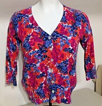 Talbots Cotton Blend Women's 1X Floral Cardigan Sweater Pink Orange Blue... - $44.55