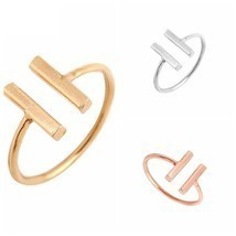 USA Double Bars Ring Women Cool Unique Adjustable Bar Shape Finger Midi ... - $9.99