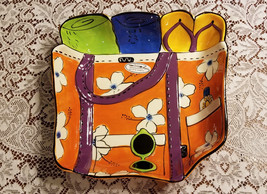 """Clay Art Summer Fun Beach Bag Serving Bowl Platter 18"""" x 12.5"""" x 3"""" - ₹3,598.85 INR"""
