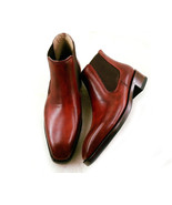 Handmade Burgundy Chelsea Leather Ankle High Boots for Men  - $159.97+